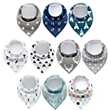 10 Pack Baby Bandana Drool Bib,100% Cotton Baby Bibs, Unisex Gift Set Soft and AbsorbentBibs for Drooling and Teething