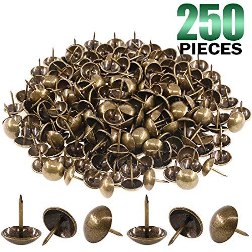 "Keadic 250Pcs [ 5/8"" in Diameter ] Antique Upholstery Tacks Furniture Nails Pins Assortment Kit for Upholstered…"