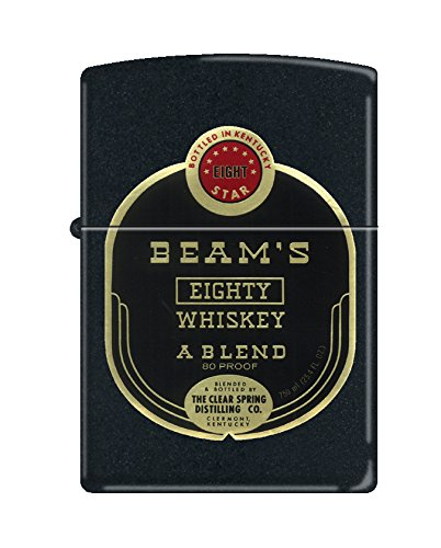 (Zippo Jim Beam Vintage Label Black Matte Pocket Lighter)
