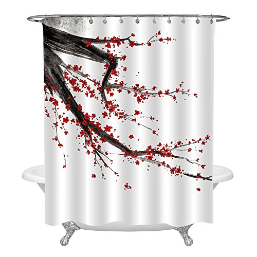 MitoVilla Japanese Bathroom Shower Decorations, Black and Red Cherry Blossom Tree Shower Curtain Set, Spring Floral Pattern Watercolor Painting, Standard Size 72 x 72 Inches