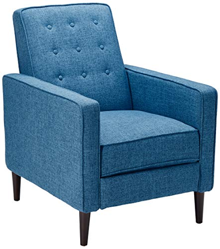 Christopher Knight Home 300597 Macedonia Mid Century Modern Tufted Back Muted Blue Fabric Recliner