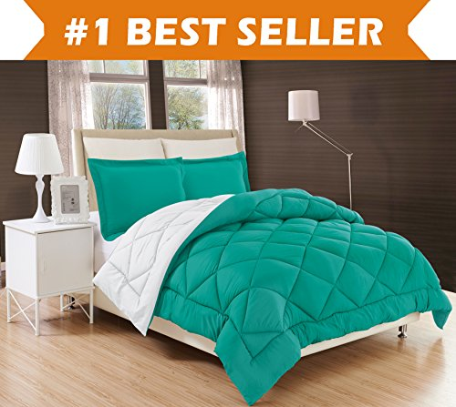 Elegant Comfort All Season Comforter and Year Round Medium Weight Super Soft Down Alternative Reversible 3-Piece Comforter Set, Full/Queen, Turquoise/White - Asian Queen Size Bed