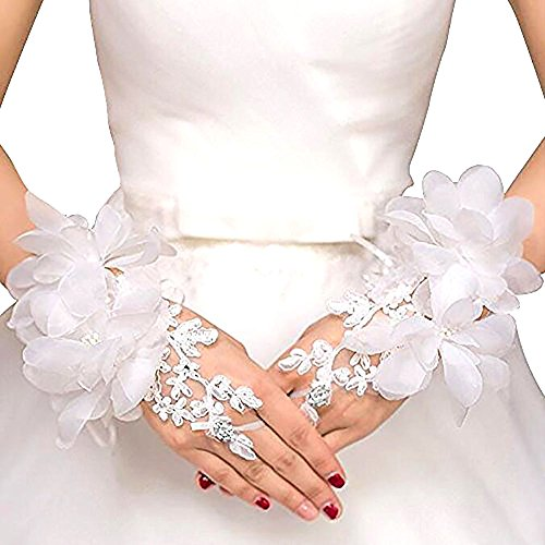 Venusvi Bride Wedding Party Fingerless Pearl Lace Satin Bridal Gloves