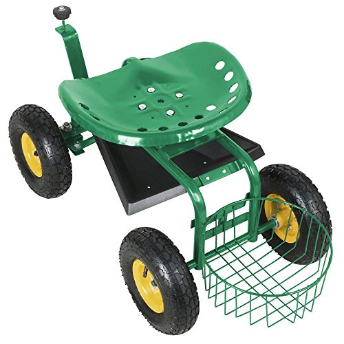 go2buyRolling Garden Cart Work Seat With Heavy Duty Tool Tray Gardening Planting Green by go2buy