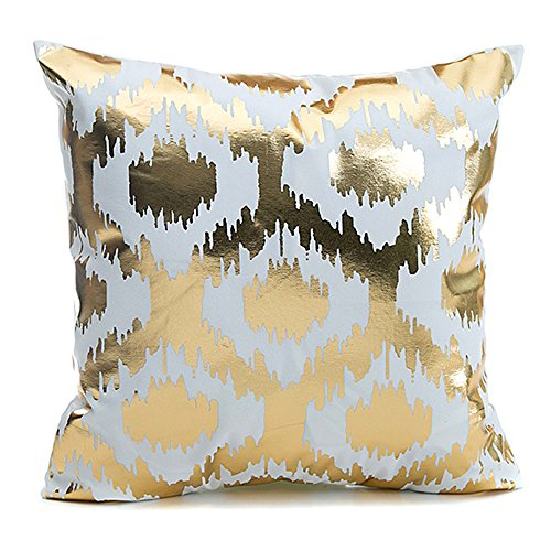 Kingla Home Bronzing Golden Geometric Decorative Toss Pillow Case White Couch Cushion Covers 45x45cm Flannel Throw Pillow Covers 18x18 inch