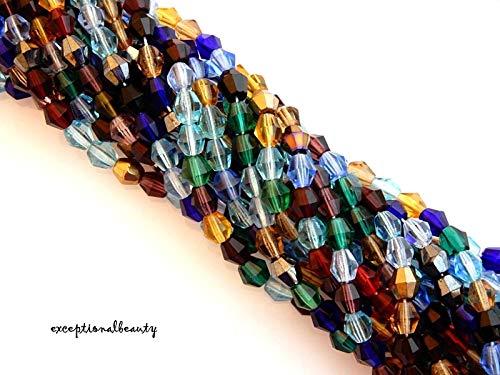 (600 Preciosa Bulk Assorted Color Mix Czech Fire Polished 5mm Bicone Glass Beads )