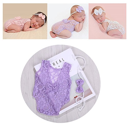 Newborn Infant Baby Photography Props Girls Lace Bow Vest Bodysuits Romper Photo Shoot Princess Clothes (Purple) by Vemonllas (Image #4)