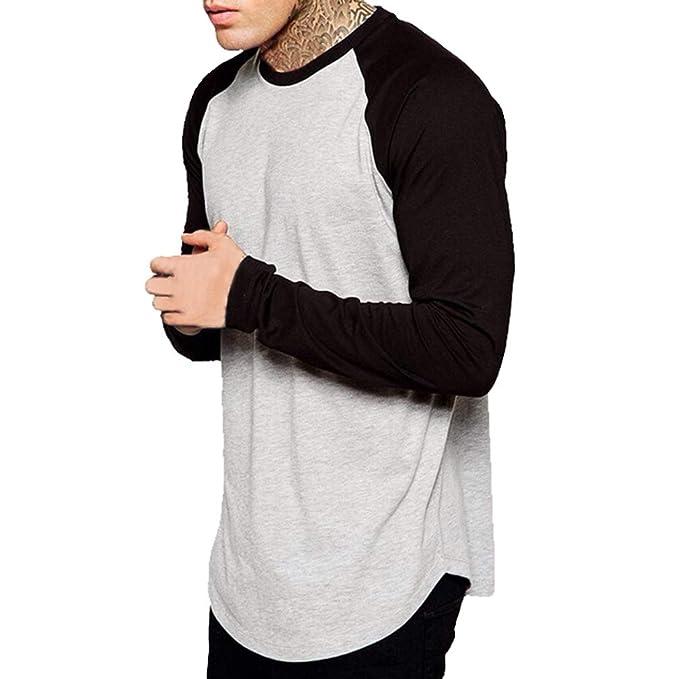 Cuello Redondo Camisa para Hombre - Moda Manga Larga Loose Fit Shirt Hombres Color Empalmadas Básica Casual Camisetas Blusas Tops Gris Claro/Gris ...