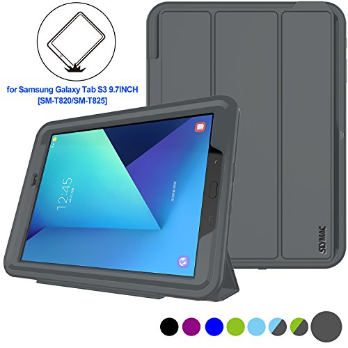 Samsung Galaxy Tab S3 Case Heavy Duty Shockproof Smart Cover Auto Sleep Wake With PU Leather Stand Feature for Galaxy Tab S3/ T820 Can Fit With Tempered Glass Protector (Gray/ (Stock Glass)