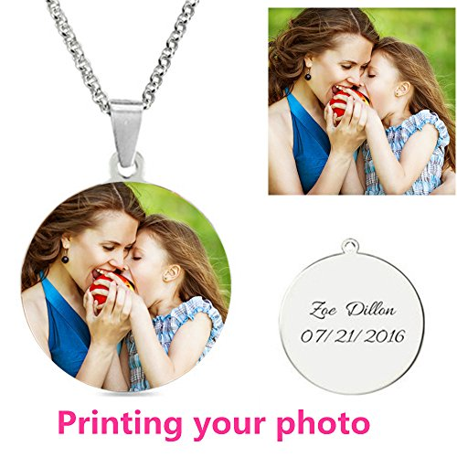 Personalized Custom Photo Necklace titanium steel Heart Necklace Dog Tag Necklace Pendan Couple jewelry Valentine's Day present(Titanium Full Color 18)