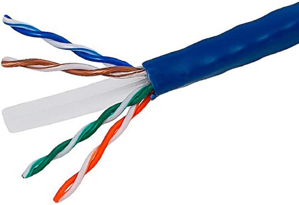 Blue Non-Plenum 1000ft 100/% Solid Copper UTP Cable 23AWG 600MHz White Color CMR Cat6 Riser