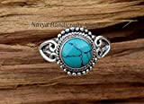 925 Sterling Silver Turquoise Ring Size US 7 - Turquoise Stone Gemstone Statement Ring Gift Jewellery For Girl Women