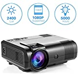 Projector, Tontion 2400 Lux Video Projector supporting 1080P -50,000 Hour LED Full HD Mini Projector, Compatible with Amazon Fire TV Stick, HDMI, VGA, USB, AV, SD for Home Theater