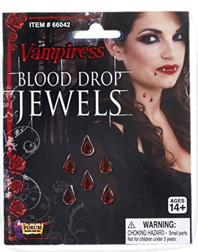 Vampiress Blood Drop Jewels Costume Accessory (Vampiress Makeup)
