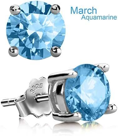 Stud Earrings, UHIBROS Sterling Silver Birthstone Round Cubic Zirconia Diamond Earrings