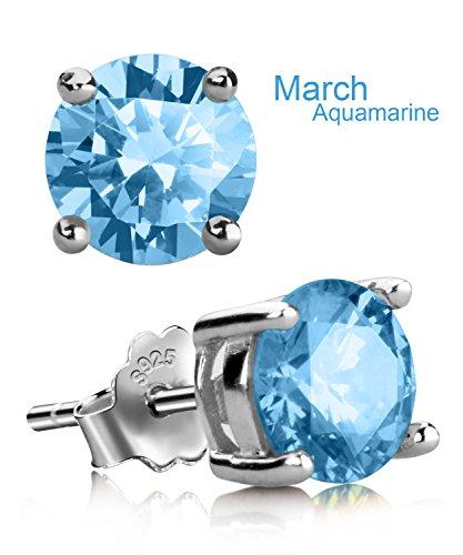 UHIBROS Sterling Silver Birthstone Stud Earrings Round Cubic Zirconia Diamond March (March Birthstone)