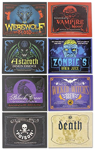 Halloween Glow in the Dark Wine Bottle Label Stickers (8 (Wine Bottle Costumes For Halloween)