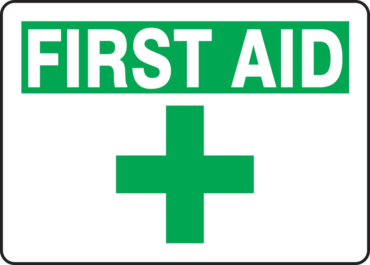 LegendFirst AID with Graphic Green on White 7-Inch Lengthx10-Inch Widthx0.004-Inch Thickness ACCUFORM SIGNS MFSD923VS Adhesive Vinyl Safety Sign