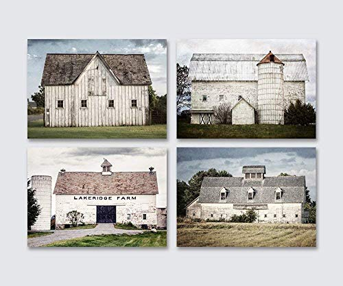 Photograph Fine Art Photo - Farmhouse Decor Set of Unframed 5x7 Fine Art Prints. Rustic Country Barn Landscape Photography Set. White, Gray, Blue.