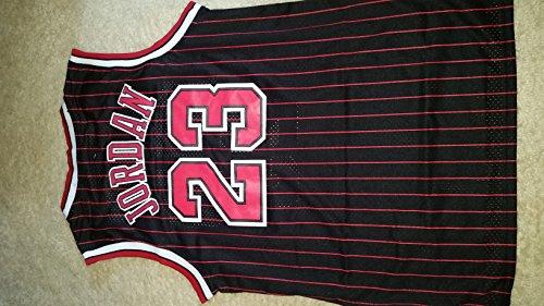 NBA Chicago Bulls Black Red Stripe Jersey, Michael Jordan (Adult Large=L)