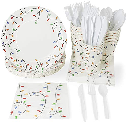 Christmas Disposable Dinnerware Set - Serves 24 - Festive Holiday Party Supplies, Christmas Lights Design, Includes Plastic Knives, Spoons, Forks, Paper Plates, Napkins, -