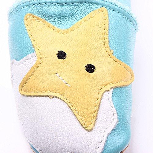 Cystyle - Patucos de Piel Lisa para niño diseño de estrellas