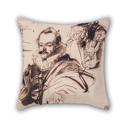 Oil Painting Richard Parkes Bonington - Study Of A Gentleman In 17th Century Costume, After Van Dyck Throw Pillow Case 20 X 20 Inches / 50 By 50 Cm Gift (Hand Roll Sushi Costume)