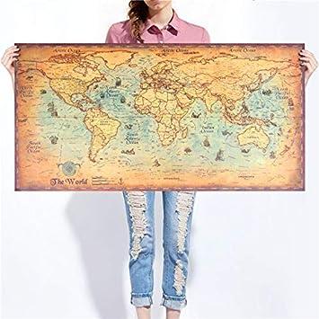 Farbe: Retro Cafe Pub. Gro/ße Vintage Weltkarte auf Kraftpapier Weltkarte 39.4-Inches x 19.7-Inches Navigation Alte Segelkarte Papier 100 cm x 50 cm Wand Poster f/ür Wohnzimmer,Bar