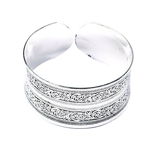 BODYA Classic Tibet Silver Carved Lucky Totem Flower Old Bangle Filled Wide Engrave Cuff Bracelet