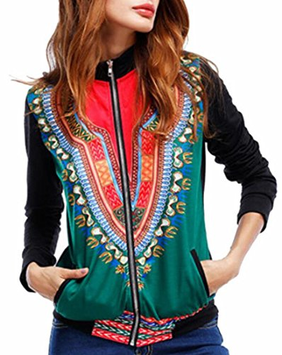 Classic Women Aztec Baseball Tribal Collar Green Stand Jackets UK today Print RxEISS