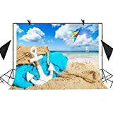 MEETS 7x5ft Summer Beach Photography Backdrop White Anchor Blue Blanket Kite Sailboat Sea Background Wedding Photography Kiosk Studio Props Themed Party Background MT379