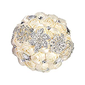 Zerodis Bridal Bouquet, Wedding Roses Flowers Bridesmaid Ribbon Bouquets Elegant Crystal Sparkle Pearl Silk Bride Wedding Bouquet 68