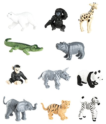Safari Ltd Zoo Babies Toy Figurine TOOB With 11 Adorable Baby Animals Including Baby Zebra, Panda, Hippo, Chimpanzee, Rhino, Alligator, Gorilla, Elephant, Tiger, Polar Bear, And Giraffe - Ages 3 And Up
