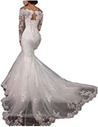 2018 Lace Mermaid Wedding Dresses Applique Beaded Long Sleeve Wedding Gowns Formal