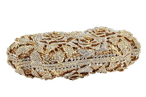 or bal main soirée blanc Yilongsheng feuillu Ladies cristal avec de Sacs Floral à qP54ntW