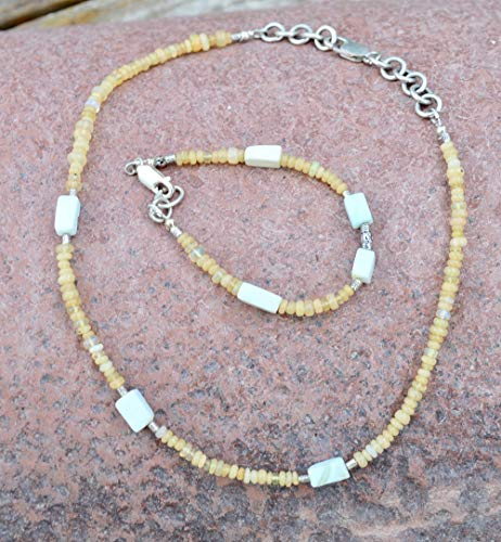 Ethopian Opal Welo Peruvian Opal Solid sterling Silver 925 .Hill Tribe Beads Necklace Beaded Bohemian Tribal One of a Kind Primitive Ethnic Southwestern Bracelet Matching Set ()