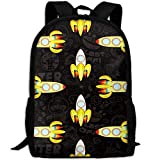 Best KAKA Work Backpacks - Rockets Outer Space Canvas Laptop Backpack Cute School Review