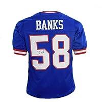 $94 » Autographed Carl Banks Jersey - Pro Edition Blue) - JSA Certified - Autographed NFL Jerseys