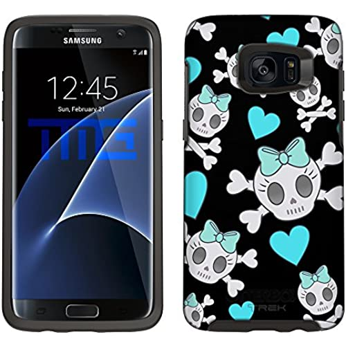 Skin Decal for Otterbox Symmetry Samsung Galaxy S7 Edge Case - Cutie Skulls Turquoise on Black Sales