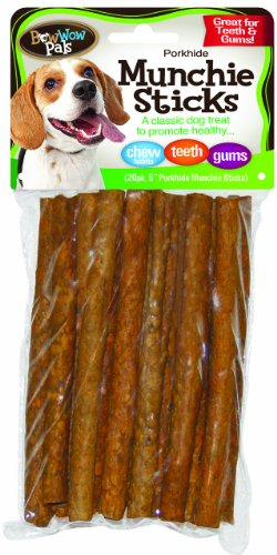 Bow Wow Porkhide Munchie Sticks, 20-Pack 5-Inch