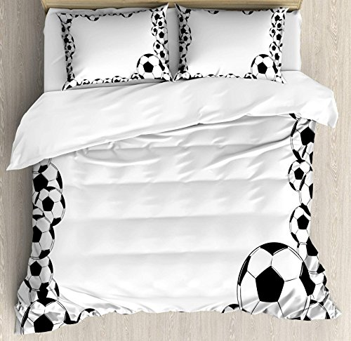 USOPHIA Soccer 4 Pieces Bed Sheets Set Queen Size, Monochrome Football Frame Pattern Abstract Illustration Playing Sports Game Floral Duvet Cover Set, White Charcoal Grey by USOPHIA