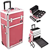 Sunrise I3763CRHP Hot Pink Crocodile Professional Rolling Aluminum Cosmetic Makeup Craft Storage Organizer Case with Large Drawers, Easy Slide Extendable Trays and Brush Holder