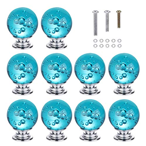 HOMEIDEAS 10PCS 30MM Aqua Blue Bubble Crystal Knobs Glass Cabinet Knobs Drawer Pulls Handle for Home, Cabinet, Drawer and Dresser, 3 Size Screws