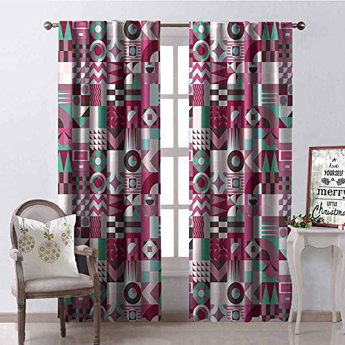 GloriaJohnson Mid Century Heat Insulation Curtain Rich Collection of Motifs from Fifties Groovy Unusual Forms Checkered Design for Living Room or Bedroom W52 x L72 Inch Multicolor]()