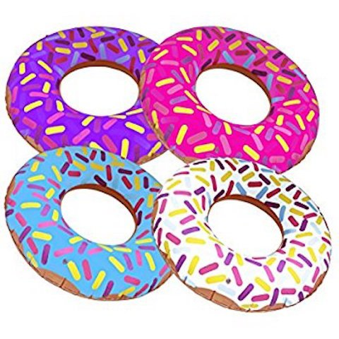 - (4) 15 Inch Frosted Donut Shaped Inflatables - Blow Up Pool Party Favor Toys luau Novelty Items