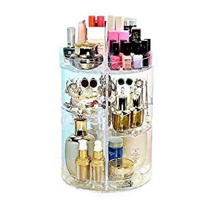 360 ° Rotating Makeup Organiser,Makeup Organizer 360° Rotating Adjustable Cosmetic Holder 320 X 210 Mm. Acrylic Rotating 360 Degree Crystal Adjustable Jewelry Perfumes Display Stand Box For Bedroom