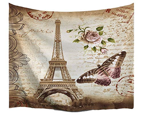 A.Monamour Brown Mottled Backgrounds Vintage Floral Butterfly Paris Eiffel Tower Postcard with Stamp Print Fabric Tapestry Wall Hanging Decors for Bedroom Decorations 153x102cm/60 x40