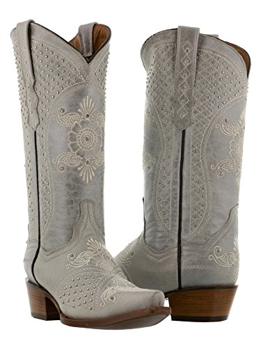Cowboy Professional Women's White Marfil Wedding Studded Cowboy Boots Snip Toe 8 BM by Cowboy Professional