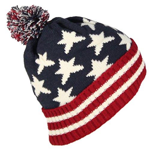 Best Winter Hats American/Americana Flag Cuffed Beanie Cap W/Pom Pom (One Size)