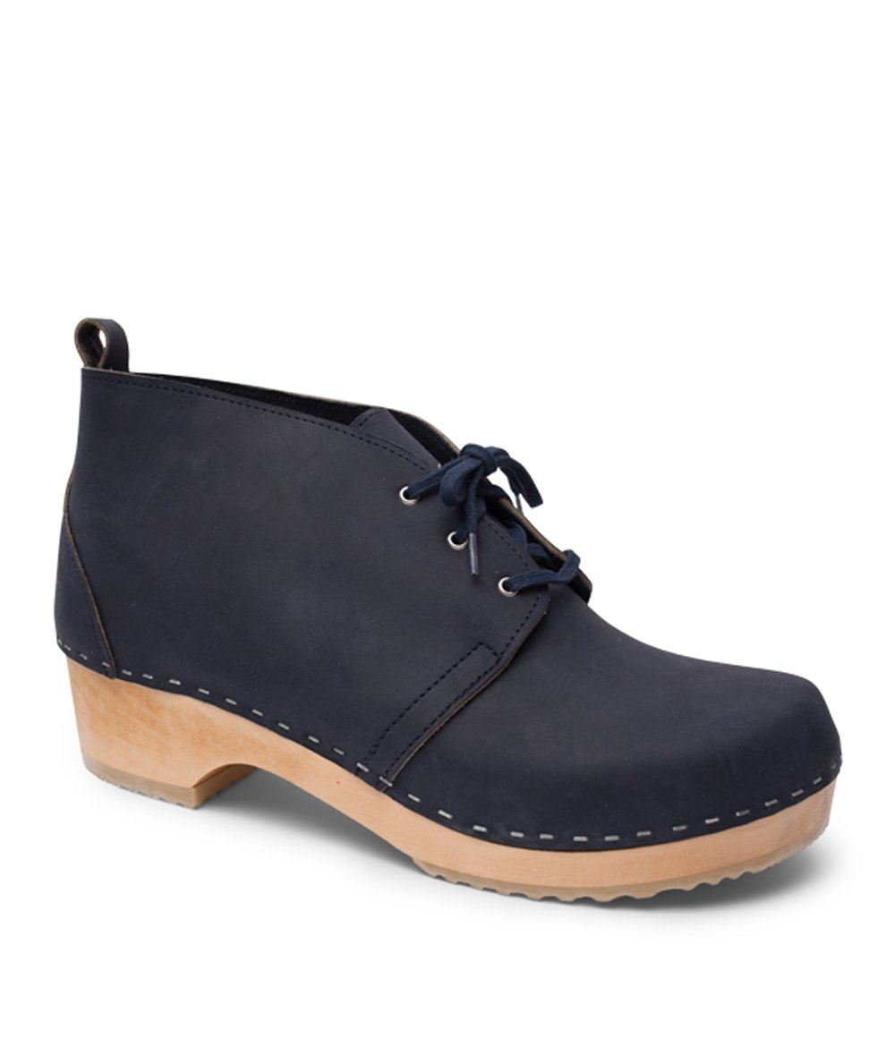 Swedish Wooden Clog Boots for Men | Chukka in Navy by Sandgrens, size US 13 EU 46